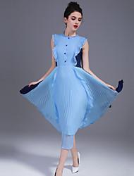 На каждый день Простое А-силуэт Платье Однотонный,Круглый вырез Средней длины Без рукавов Полиэстер Весна Лето Со стандартной талией