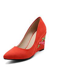 Heels Spring Summer Fall Comfort Embroidered Shoes Light Soles Fleece Wedding Office & Career Party & Evening Wedge Heel FlowerYellow