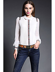 Women's Work Simple Spring Blouse,Color Block Patchwork Embroidered Round Neck Long Sleeve White Black Silk Thin