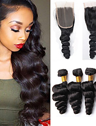 Vinsteen Cheap Brazilian Virgin Hair Loose Wave with Lace Closure Unprocessed Brazilian Human Hair Weave Bundles Brazilian Loose Wave Hair Can be Dyed