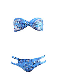 Women's Halter Bikini,Lace Up / Floral Polyester Blue