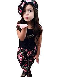 Girls' Clothing Sets Black Sleeveless Vest + Flora Harem Pants + Hair Band 3pcs Sets (Cotton)