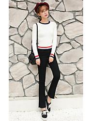 2017 корейской версии весной и летом высокой талии широкую ногу микро динамик тонкий случайные брюки стрейч бахромой тонкие девять очков