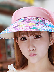 Women Lace Summer Anti-UV Riding Empty Top Multicolored Flower Print Hat Foldable Embroidered Sunshade Cap