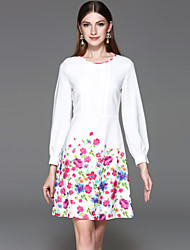 YHSPWomen's Going out Formal Holiday Simple A Line Sheath DressFloral Round Neck Above Knee Long Sleeve Polyester Spring Mid Rise Inelastic