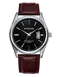 Men's Dress Watch Fashion Watch Calendar Quartz Leather Band Casual Black Brown