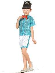 Jazz Kid's Cotton Bowknot Sequin 2 Pieces Short Sleeve Tops Shorts