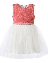 Vestido Chica deFloral-Algodón-Todas las Temporadas-Rosa