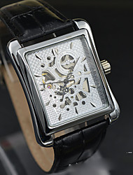 Skeleton Watch Quartz Leather Band Black Black