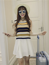 Sign! Korean loose back slit sleeveless blouse piece fitted skirts +