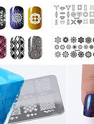 12pcs/lot Classical Geometry Rectangular Nail Printing Template