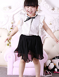 Girl's Cotton Fashion And Lovely Vertical Stripes Pleated Sleeveless Shirt  Shorts Two-Piece Outfit