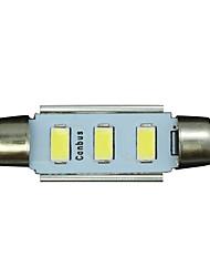 10x Festoon 36mm 3 5730 WHITE Car Interior LED No-polar 12V Dome Map Light Bulb