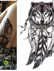 1 pcs   Wolf with Feather 21x15cm Cool Beauty Tattoo Waterproof Temporary Tattoo Stickers