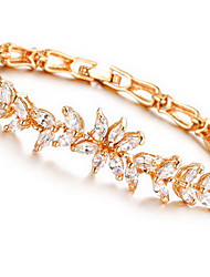 Bracelet Chain Bracelet Crystal Alloy Zircon Leaf Fashion Special Occasion Birthday Gift Valentine Christmas Gifts Jewelry Gift Gold White