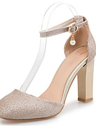 Women's Heels Spring Summer Fall Club Shoes D'Orsay & Two-Piece Glitter Customized Materials Wedding Party & Evening Dress Chunky Heel