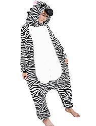 Kigurumi Pajamas Zebra Leotard/Onesie Festival/Holiday Animal Sleepwear Halloween Black Print / Animal Print / Patchwork FlannelCosplay