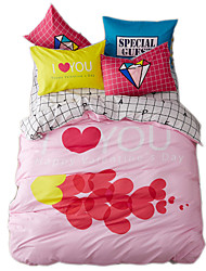 Mingjie Reactive Print Sweet Love Bedding Sets 4 Pcs for Queen Size Contain 1 Duvet Cover 1 Bedsheet 2 Pillowcases from China