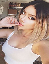8to26 Inch Length Sale Price Elegant 130% Blonde Ombre Short Cut Straight Bob Human Hair Side Part Lace Front Bob Wigs With Bangs For Black Women