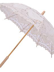 Mariage Plage Quotidien Dentelle Coton Parapluie Poignée de post Env.66cm Bois Env.78cm
