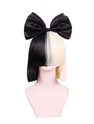 Новое обновление моды стиль парик SIA короткий прямой парик дышащий черный золотой цвет смешивания синтетических париков волокна высокого