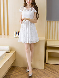 Women's Lace Plus Size Slim A Line Lace Dress Embroidered Lace Cut Out Round Neck Mini Short Sleeve Pink White Black