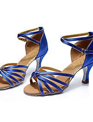 Non Customizable Kids' Dance Shoes Satin Latin Sandals Stiletto Heel Indoor