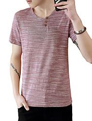 Herren Solide Punkt Einfach Niedlich Street Schick Lässig/Alltäglich Strand Übergröße T-shirt,V-Ausschnitt Sommer Kurzarm Blau Rot Grau