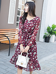 Sign spring models was thin waist floral chiffon dress