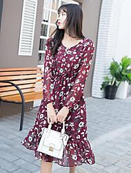 assinar modelos primavera era cintura fina vestido de chiffon floral