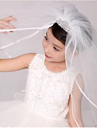 Wedding Veil Two-tier Communion Veils Ribbon Edge Tulle
