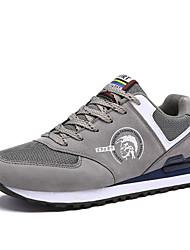 Hombre-Tacón Plano-Confort Suelas con luz-Zapatillas de deporte-Exterior Informal Deporte-Cuero Tul-Gris Azul Oscuro