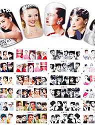 1pcs 12design Beautiful Lady Water Transfer Decals Nail Art Sticker Makeup Beauty Nail Art Design BN121-132