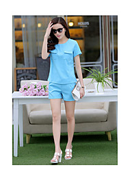 Sign summer super cool cotton material thin short-sleeved shorts suit Free Belt Belt paragraph
