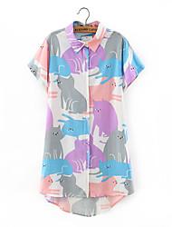 Dames Sexy T-shirt,Uitgaan Dierenprint Overhemdkraag Korte mouw Polyester
