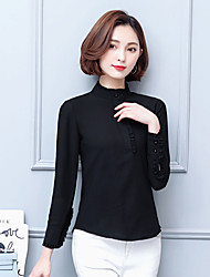 assinar no início da primavera 2017 pesados novos de seda camisas joe temperamento feminino babados maré camisa de cor sólida