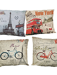 Set of 4 Tower bike pattern Linen Pillowcase Sofa Home Decor Cushion Cover