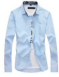 Work Simple Spring Fall Shirt,Solid Standing Collar Long Sleeve Multi-color Cotton Medium