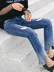 2017 Sign spring washing frayed hole jeans Slim thin wild female long pants flared trousers