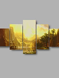 HD Print Golden sunrise Africa Deer scenery Painting Wall Art 5pcs/set Home Decor (No Frame)