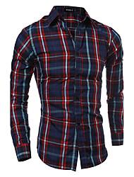 Men's Fashion Plaid Casual Shirt / Red / Brown