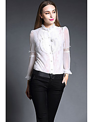 Women's Work Street chic Spring Shirt,Patchwork Embroidered Stand Long Sleeve Pink White Black Silk Thin
