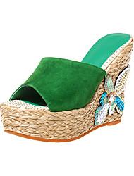 Mujer-Tacón Cuña-Zapatos del club-Sandalias-Oficina y Trabajo Fiesta y Noche Vestido-Cachemira-Negro