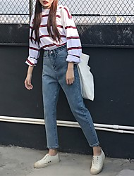 Sign new students BF wind washed wide leg pants loose straight waist jeans female trousers