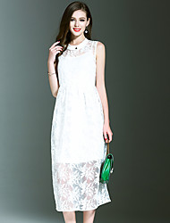 NEDO Going out Casual/Daily Holiday Simple Street chic Sophisticated A Line DressSolid Embroidered Round Neck Midi Sleeveless Polyester White
