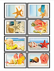 Spend Vacation By Sea Frame Drawing PVC Decorative Skin Wall Stickers for The Office Or Living Room