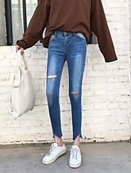 Feminino Delgado Jeans Calças,Happy-Hour Casual Simples Moda de Rua Cor Única rasgado Cintura Baixa Zíper Algodão Micro-ElásticoTodas as