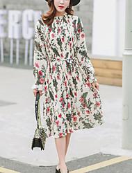 Feminino Solto Chifon Vestido,Casual Simples Floral Colarinho Chinês Médio Manga Longa Branco Poliéster Primavera Verão Cintura MédiaSem