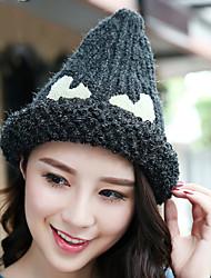 Women Winter Casual Curling Peaked Knitted Eye Pattern Printed Woolen Hat