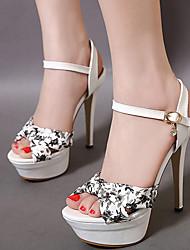 Heels Summer Fabric Dress Stiletto Heel Buckle Black Red